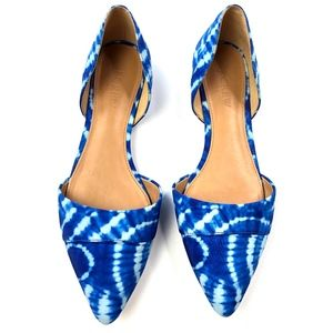 J Crew | Tie Dye Blue Pointed Toe Flats